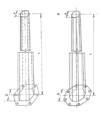 JEDNODUCHÝ OCEĽOVÝ STOŽIAR ŠESŤHRANNÝ A OSEMHRANNÝ pre vonkajšie vedenia (s vrcholovým ťahom do 20 kN)